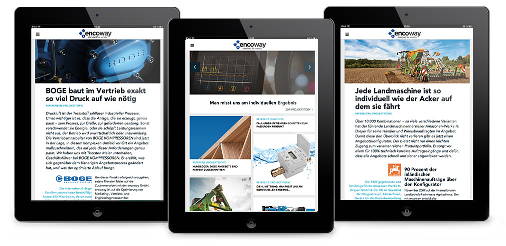 Die encoway Website auf Tablets
